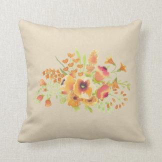 """Coussin Carreau 16"""" de polyester de fleur d'aquarelle x"""