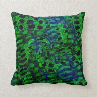 Coussin Carreau abstrait vert et de bleu