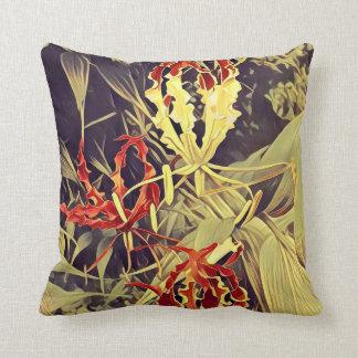 Coussin Carreau avec le motif de fleur de flamme