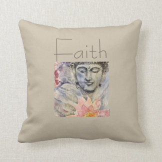Coussin Carreau d'art d'aquarelle de Bouddha de foi