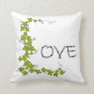 Coussin Carreau de blanc de vert de lierre d'amour