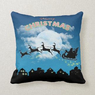 Coussin Carreau de bleu de Père Noël de vacances de Joyeux