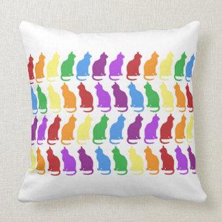 Coussin Carreau de chats d'arc-en-ciel