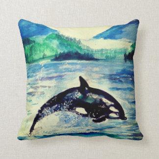 Coussin Carreau de dessin d'aquarelle de baleine