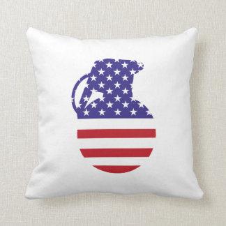 Coussin Carreau de drapeau américain de grenade à main