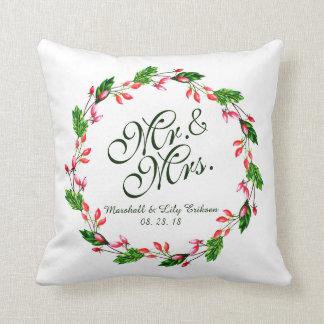 Coussin Carreau de M. et de Mme Elegant Floral Wedding |