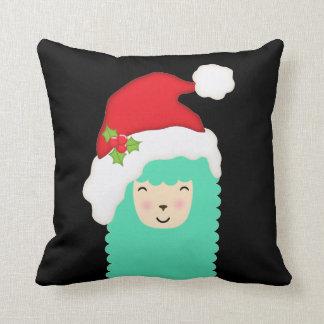 Coussin Carreau de vacances de lama d'Emoji de Noël