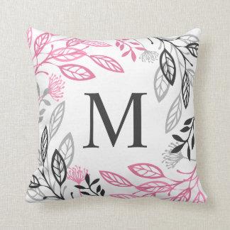Coussin Carreau floral abstrait du monogramme | de cadre