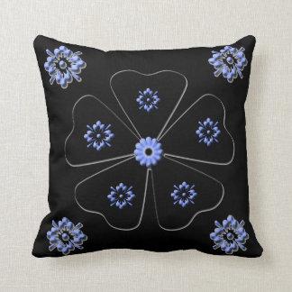 Coussin Carreau floral assez noir et bleu