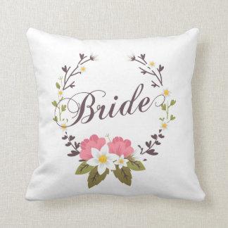 Coussin Carreau floral de guirlande de jeune mariée simple