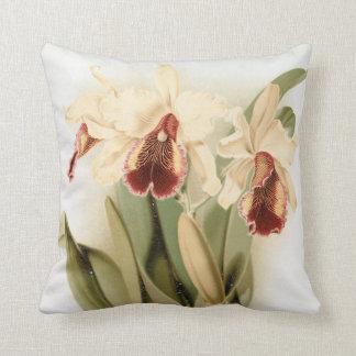 Coussin Carreau floral vintage d'orchidée de cattleya