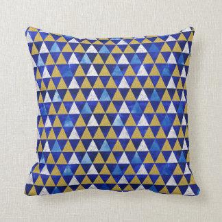Coussin Carreau géométrique de triangle, marbre bleu