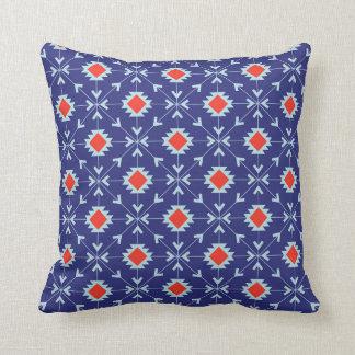 Coussin Carreau géométrique marocain bleu et rouge