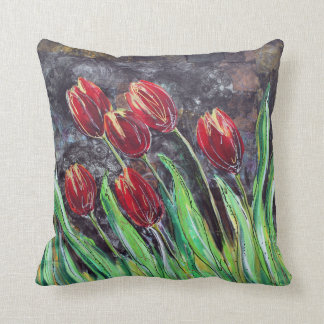 Coussin Carreau original de fleur d'art de tulipes rouges
