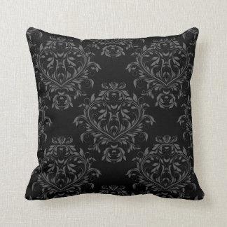 Coussin Carreau réversible de damassé - noir et gris