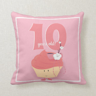 Coussin Carreau rose de l'anniversaire | de petit gâteau