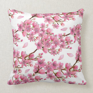 Coussin Carreau rose de motif de branches de fleur de
