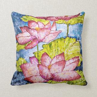Coussin Carreau rose d'étang de Lotus d'aquarelle