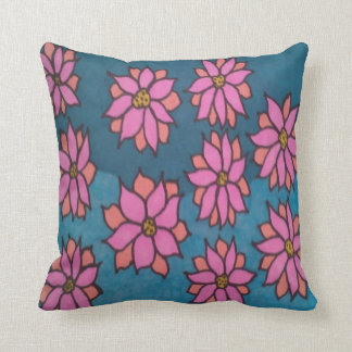 Coussin Carreau rose et bleu de motif de dahlia
