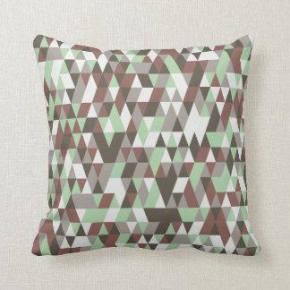 Coussin Carreau vert fané de motif de polygones de Brown