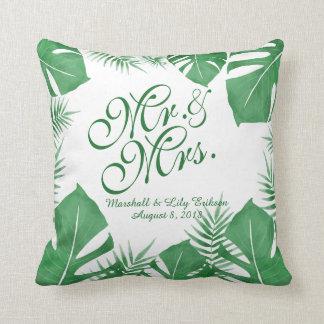 Coussin Carreau vert tropical personnalisé du mariage |