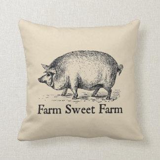 Coussin Carreau vintage de porc de style de ferme douce de