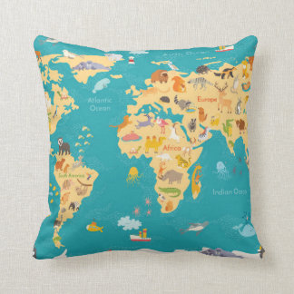 Coussin Carte animale du monde pour des enfants