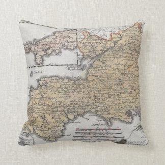 Coussin Carte antique de l'Angleterre du sud, Devon, les