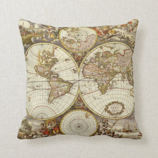 Coussin Carte antique du monde, C. 1680. Par Frederick de