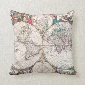 Coussin Carte antique du monde de Double-Hémisphère