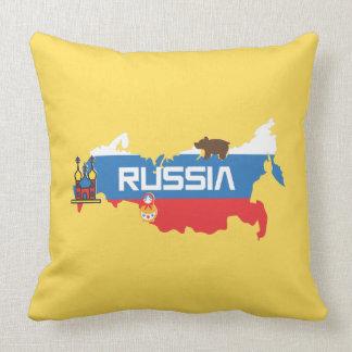 Coussin Carte de la Russie avec le bleu et le drapeau