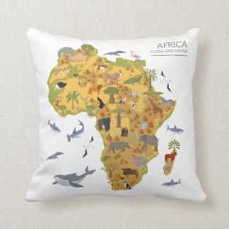 Coussin Carte de l'Afrique   Flora et faune