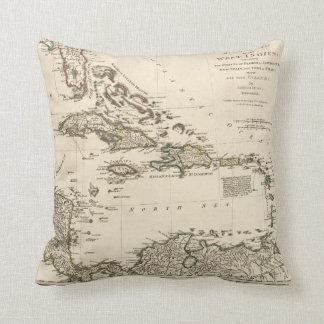 Coussin Carte des Antilles par Samuel Dunn (1774)