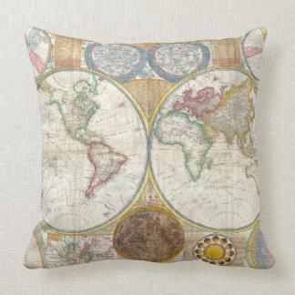 Coussin Carte vintage du monde et diagramme d'astronomie