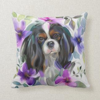 Coussin cavalier tricolore d'art de chien de
