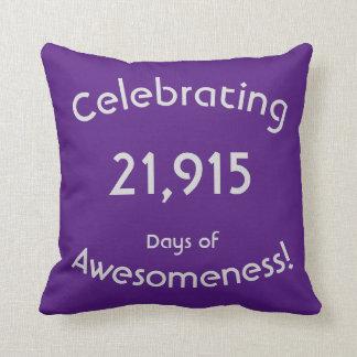 Coussin Célébration de 21.915 jours d'anniversaire