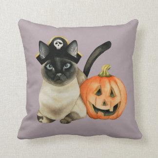 Coussin Chat siamois de Halloween avec la lanterne de Jack