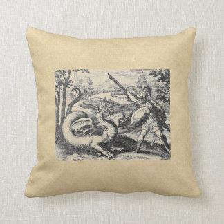 Coussin Chevalier dans l'armure massacrant le dragon