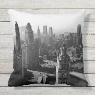 Coussin Chicago Skyline1930 de photographie ci-dessus de