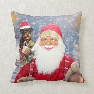 Coussin Chien de rottweiler de cadeaux de Noël du père