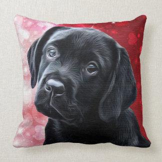 Coussin Chiot noir de Labrador Valentine