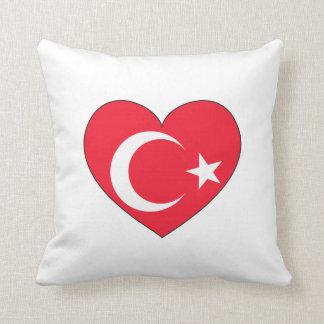 Coussin Coeur de drapeau de la Turquie