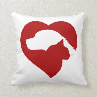Coussin Coeur rouge de chat et de chien de délivrance