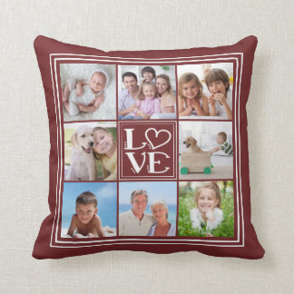 Coussin Collage de l'AMOUR 8-Photo (couleur solide