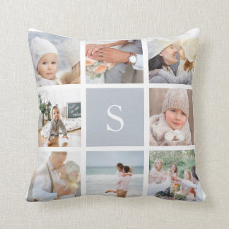 Coussin Collage gris de photo de monogramme de brouillard