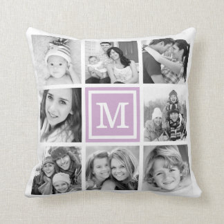 Coussin Collage pourpre lilas de photo d'Instagram de