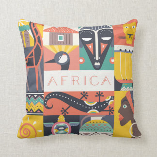 Coussin Collage symbolique africain d'art