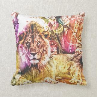 coussin coloré lumineux de lion