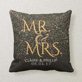 Coussin Confettis de M. et de Mme Wedding Monogram Elegant