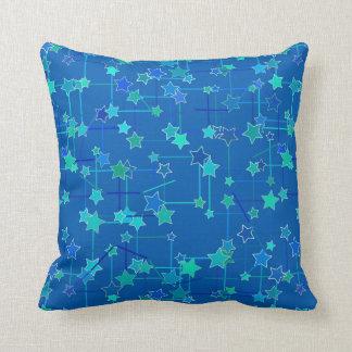Coussin Constellation abstraite d'étoiles, bleu de cobalt